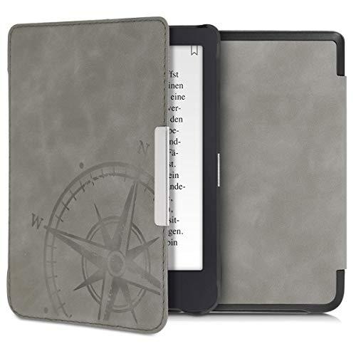 kwmobile Hülle kompatibel mit Tolino Shine 3 - Kunstleder eReader Schutzhülle Cover Hülle - Kompass Vintage Grau