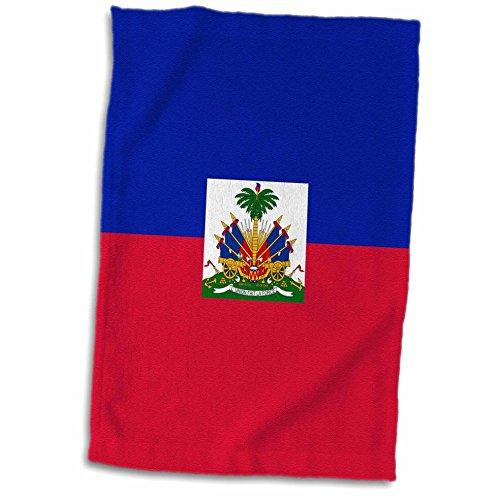 3dRose Handtuch, Flagge, Haiti-Dark Marineblau & Rot mit haitianischen Wappen – Karibik Land World Souvenir Handtuch, Mehrfarbig, 38,1 x 55,9 cm