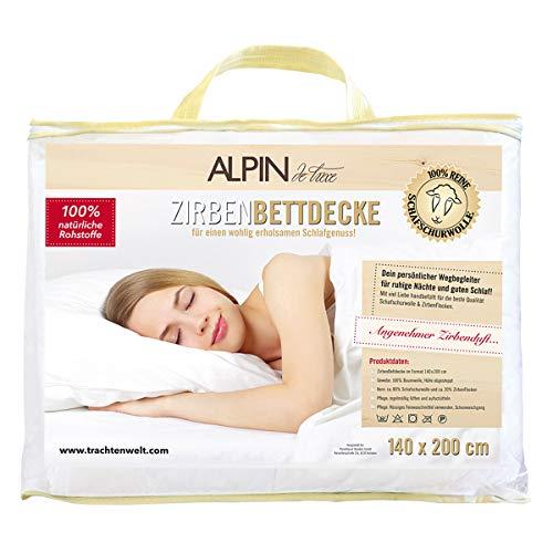 ALPIN de luxe Zirben Bettdecke | Ganzjahresdecke | Bettdecke mit Zirbe aus Schafschurwolle | Größe 140 x 200 cm | Gefüllt mit Zirbe | Mit 80% Schafschurwolle und 20% Zirbenflocken
