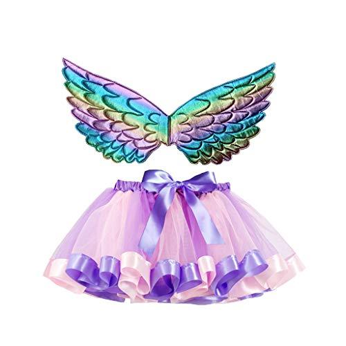 Andouy Mädchen/Baby Tutu Tüll Ballett Rock Prinzessin Ankleiden Tanzen Tragen mit Flügel Zubehör(M.Lila)