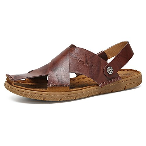 Y-hm diseño cómodo Sandalias de Playa de Cuero literales para Hombres, deslizantes, Zapatillas de Punta, Interruptor, sin Respaldo Salvaje (Color : Brown, Size : 9.5MUS)