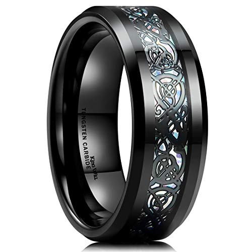 King Will Dragon Men's 8mm Color Opal Black Celtic Dragon Tungsten Carbide Ring Wedding Band 11.5