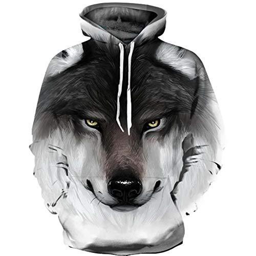 JCDZSW Suéter Casual 3D patrón de Lobo reflexivo con Capucha-Sudadera-Sudadera Estudiante de Manga Larga para la Camisa de Ropa 03-85kg-100kg