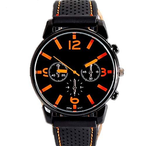 Fashion Sports Watch Men's Hot Sale Watch,Watch Men's Sports Waterproof Analog Quartz Watch, Simple Fashion Casual Black Classic Mesh Date Clock (Color : Orange)