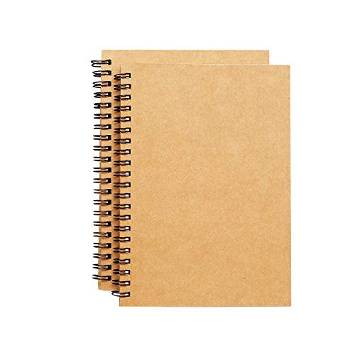Spiral Sketch Book Large Notebook Kraft Cover Blank Sketch Pad Wirebound...