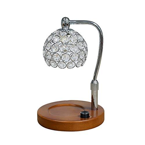 XUMI Kerzenwärmer Lampe Top Down Verbrennung, Hebebare Höhenkontrolle, Stufenloses Dimmen Kristallglas Kerzenschmelzen Für Home Decor, Silver b,Round