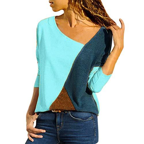 Oberteile Frauen Langarmshirts für Damen Bluse Damen elegant Tshirt Damen Frauen Oansatz Spleißen Farbe Kollision Langarm Plus Size Easy Tops Bluse