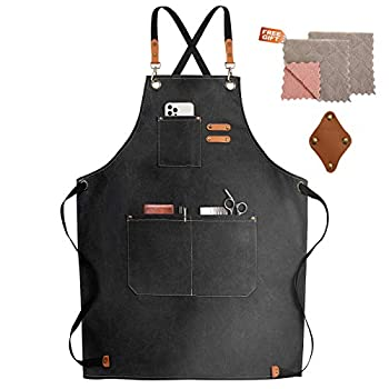 Chef Apron,Cross Back Apron for Women and Men,Cotton Canvas Apron with Adjustable Straps and Large Pockets,Kitchen Cooking Baking Bib Apron