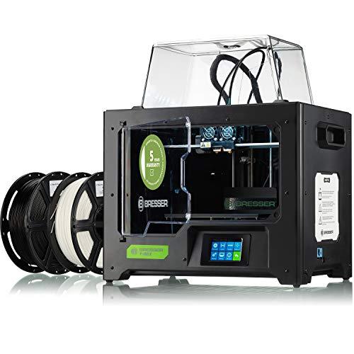 Bresser T-Rex - Impresora 3D WLAN FFF-3D con Doble extrusor (Bicolor), Pantalla táctil LCD y Cuerpo de Metal Cerrado para un tamaño de hasta 227 x 148 x 150 mm, Color Negro, Grande