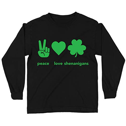 lepni.me Camiseta para Niños Paz y Amor Shenanigans Regalo para la Fiesta del Día de San Patricio en Irlanda (5-6 Years Negro Multicolor)