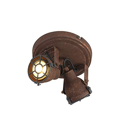 QAZQA - Industrie | Industrial Robuster Spot | Spotlight | Deckenspot | Deckenstrahler | Strahler | Lampe | Leuchte rost 2-flammig-flammig - Sorra | Wohnzimmer | Schlafzimmer | Küche - Metall Rund - L