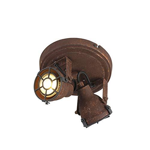 QAZQA Industrie/Industrial Robuster Spot/Spotlight/Deckenspot/Deckenstrahler/Strahler/Lampe/Leuchte rost 2-flammig-flammig - Sorra/Innenbeleuchtung/Wohnzimmerlampe/Schlafzimmer/K