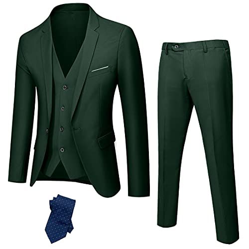 YND Men's Slim Fit 3 Piece Suit, One Button Jacket Vest Pants Set with Tie, Solid Party Wedding Dress Blazer, Tux Waistcoat and Trousers Deep Green