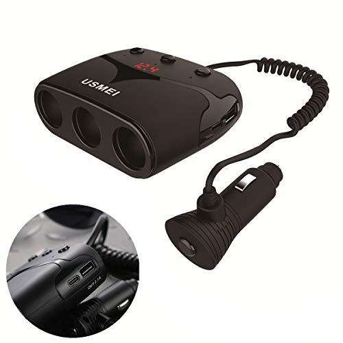 FJW Multi-Fonctionnel Chargeur de Voiture USB Double Port 120W 3.1A avec Dual Type-C avec Surveillance de Tension LED avec diviseur d'allume-Cigarette à 2 Prises pour Voiture 12V-24V