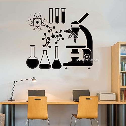 jiushivr Mikroskop Wissenschaft Wandbilder Wandtattoos Kunstwissenschaftler Chemie Atom Becher Fenster Aufkleber Vinyl Innenwanddekor LC 91x84cm