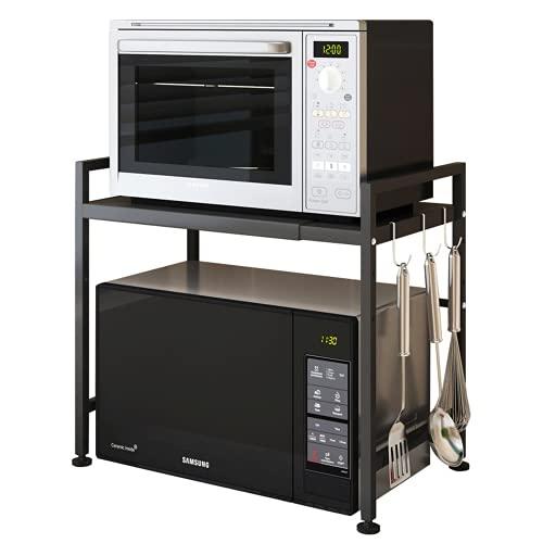 Estante retráctil para horno de microondas, estante para horno de varias capas, olla de arroz de dos capas, estante de almacenamiento de doble capa, estante de cocina