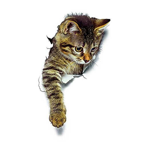 Floralby 3D Cute Cat Wall Art Sticker Home Office Decor Bathroom Toilet Lid Cover Decal (3#)