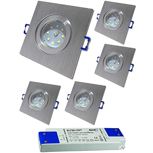 LED Bad Einbaustrahler 12V inkl. 5 x 5W SMD LM Farbe BiColor IP44 LED Deckenleuchten Neptun Eckig 4000K mit Trafo