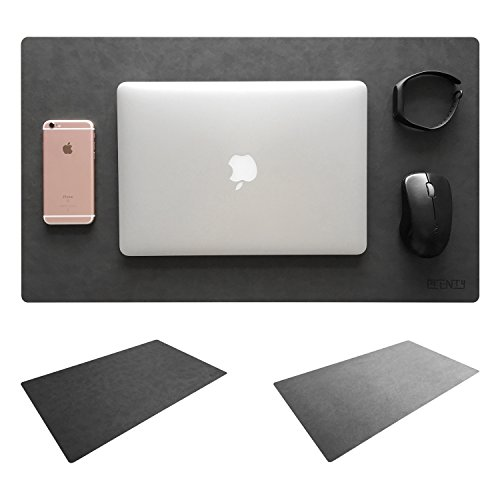"""Leather Desk Mat & Mate 24"""" x 14"""" Non-Slip Smooth Writing Desk Pad Protective Mat Protector Mouse Pad for Desktops and Laptops (Dark Grey)"""