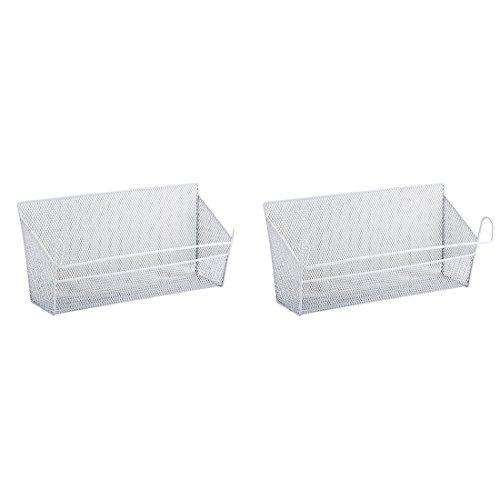 BLJRGS 2 Stück Regalein hängekorb,Nachttisch Hänge Lagerbehälter Regale Korb Lagerhalter Größe 39 * 10 * 18cm (Weiß)