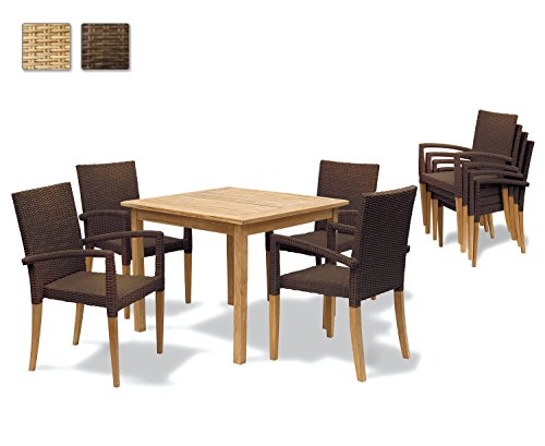 Jati Hampton Square Garden Table 0.9m and 4 Rattan Java Brown Stacking Chairs Brand, Quality & Value