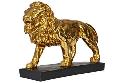 Hansmeier® Deko Skulptur Löwe | Gold | Für Außen und Innen | 43 x 28 x 13 cm | Deko Statue Flur