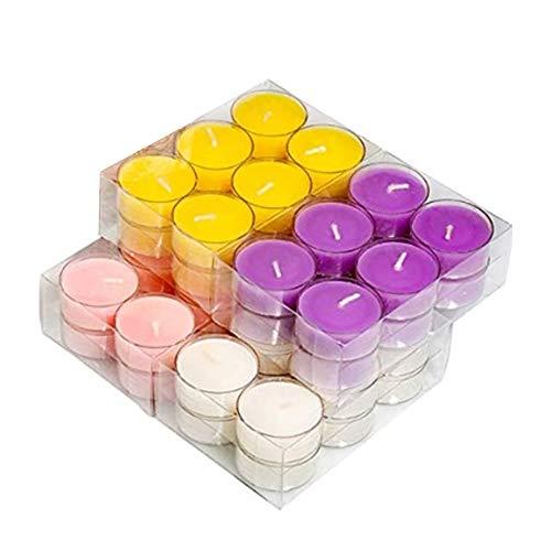 Burhetten Paquete de 48 velas aromáticas de té velas a granel para el hogar, cera de soja para candelabros y juegos de regalos para mujeres