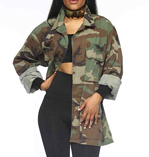 Hibasing Chaquetas Vintage Militares de Camuflaje para Mujer Abrigos de Mezclilla Verde...
