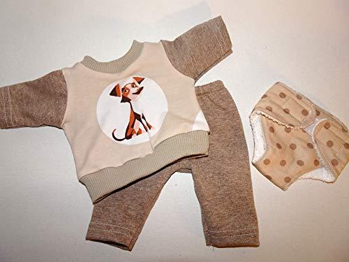 maderegger Pyjama für Puppe Größe 35-40 cm mit Hose, Shirt und Windel
