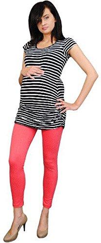 Oasi 3085 Legging de grossesse de bonne qualité pour femmes enceintes Corail - Rouge - taille unique