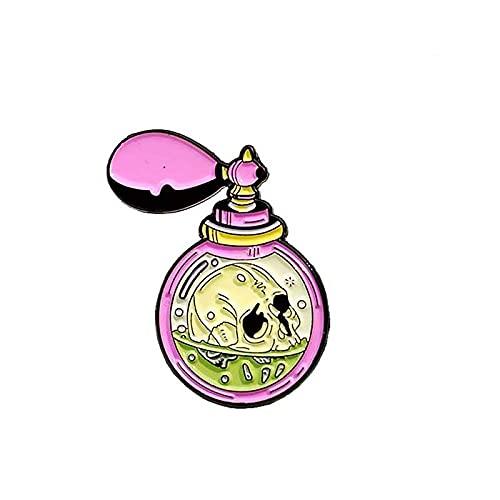 Broche de esmalte de botella de perfume rosa con diseño de calavera de terror y veneno de solapa con diseño de esqueleto de perfume verde