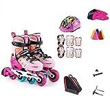 Patines en línea Rodillo Ajustable Niños Niñas Roller Blades Patines En Línea De Tamaño Talla de Zapato Ajustable Kids Pro Patinaje 3 TAMAÑO, 2 Colores Protección Completa