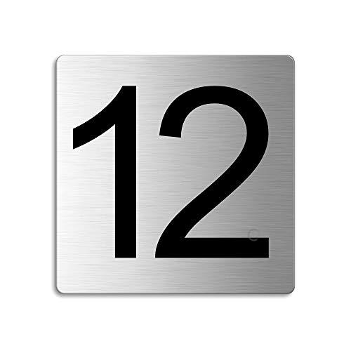 Plaque Numéro de porte 12 | 85x85 mm autocollant | acier inox brossé Nr.48312