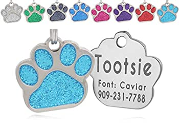 io tags Pet ID Tags Personalized Dog Tags and Cat Tags Custom Engraved Easy to Read Cute Glitter Paw Pet Tag Turquiose
