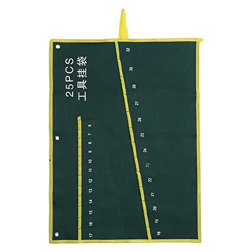 Durable Bolsa de Estuche para herramientas enrollable, Herramientas de Lona Llave Organizador de Almacenamiento Bolsa con Verde 6/8/10/12/14/25 Bolsillos(25 Pockets)