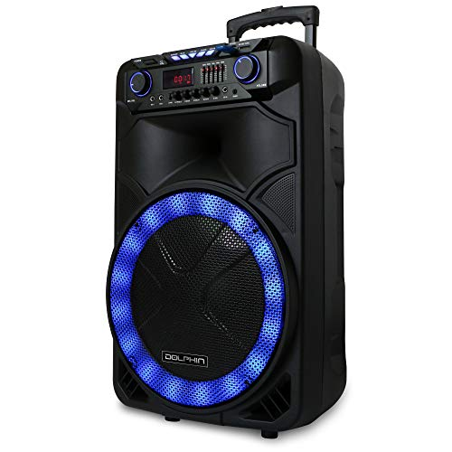 """Dolphin SP-1500RBT Portable Bluetooth Party Speaker with Sound Activated Lights, 15"""", 2100W"""