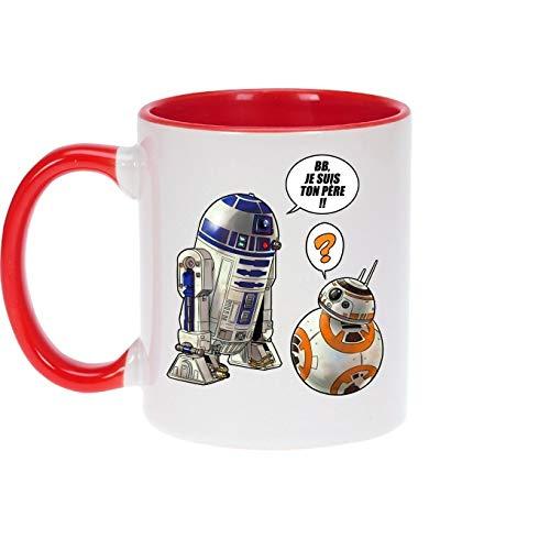 Okiwoki - Taza con asa e interior de color rojo – Parodia Star Wars – BB-8 y R2-D2 – BB, Je suis Ton Padre.