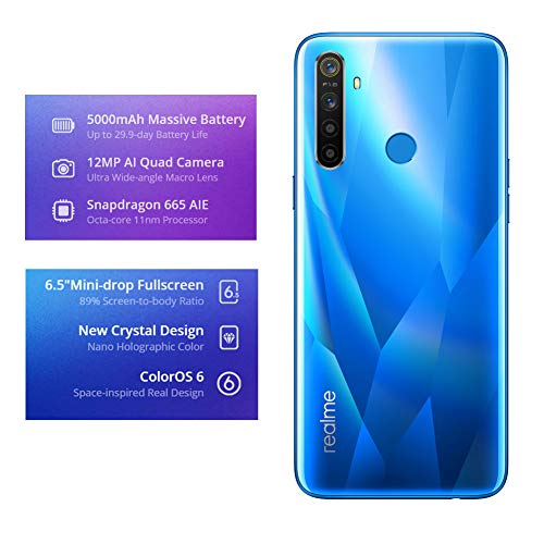 "realme 5 Smartphone Cellulari, 3 GB RAM 64 GB ROM 6,5"" Snapdragon 665 AIE 12MP AI Quad Camera, Versione Europea (Blu)"