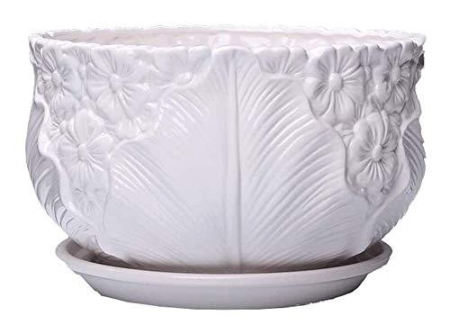 Keramik Blumentopf mit Tray Runde Bonsai Blumentopfpflanze Steht grüne Pflanze Pflanzenkübel im Freien Innen (Farbe: B, Größe: Übergröße) Pflanzkübel-Keramik, geeignet für Schlafzimmer Off