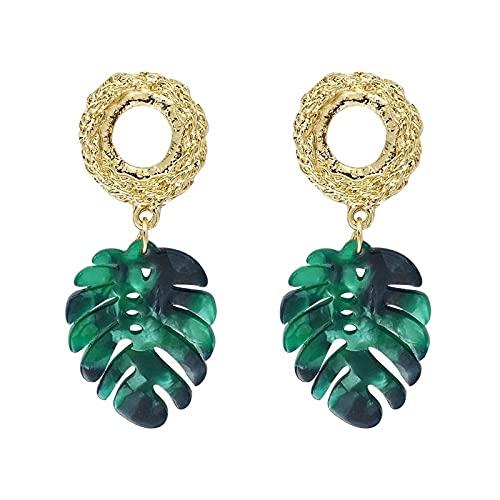 Pendientes Para Mujer - Simple Color Verde Tropical Monstera Pendientes En Forma De Hoja Hojas De Resina Plantas Regalos Para Novia Encanto Moda Pendientes Colgantes Joyas Para Mujeres Señoras