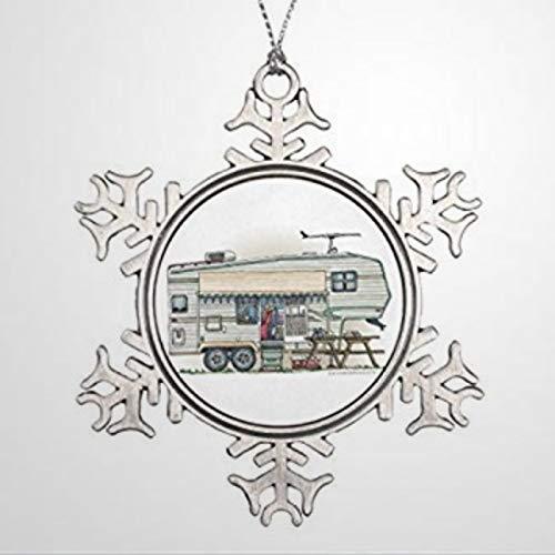 BYRON HOYLE Christmas Cute RV Vintage Fifth Wheel Camper Travel Trailer Pewter Christma Christmas Snowflake Ornaments Xmas Decor Wedding Ornament Holiday Present