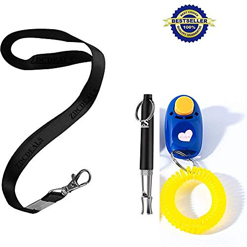ZDCDEALS Pets Dog Whistle and Dog Clicker Set, Ultrasonic Dog Whistle to Stop Barking, Whistle with Lanyard & Dog Training Clicker, Best Dog Training Whistle & Silent Dog Whistle, Adjustable Frequency