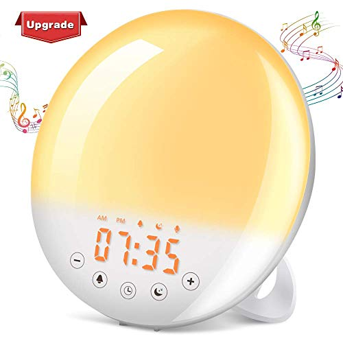 SOLMORE Wake Up Light, Sunrise Alarm Clock Sunset Simulation 7 Colors 9 Alarm Sounds Snooze Function 30 Brightness Adjustable Digital Alarm Clock FM Radio Touch Control for Kids Adults Bedroom