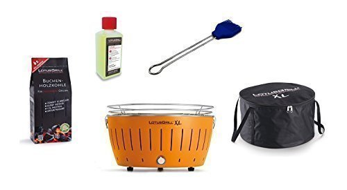 LotusGrill Barbecue XL Kit de démarrage 1x Lotus Barbecue charbon de bois de hêtre XL Mandarine Orange 1x 1kg, 1x Pâte à combustible 200ml, 1x Pinceau Bleu Outremer, 1x XL Sacoche
