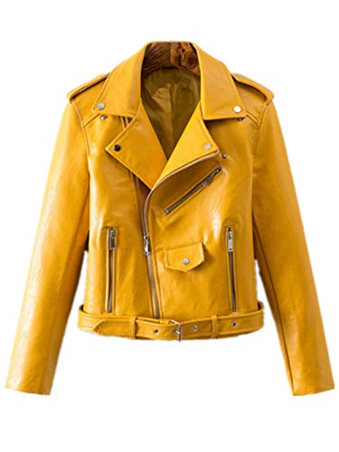 Women's Trendy Stand Collar PU Leather Moto Jacket Leather Coat,Yellow,Large