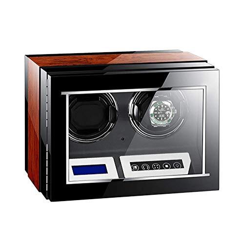 Enrollador de Relojes Caja automática para 2 Relojes con Pantalla Digital LCD táctil Motor silencioso 5 Modos de rotación Pintura de Piano + Madera, a Prueba de Polvo Happy Life