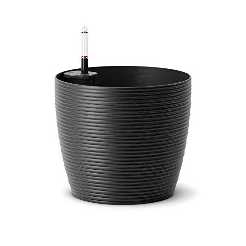 Emsa M5012000 Casa Cosy Blumenkübel 36 cm, Aqua Comfort Bewässerungssystem, 3 Liter Pflanzvolumen, frost- und UV-beständig, granit