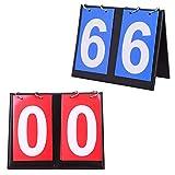 Seully Marcador Deportivo, 2pcs Marcadores Portátiles, Voleibol, Baloncesto, Tenis, Tenis de Mesa,Marcador Portátil 2 Dígitos Marcador para Voleibol, 00-99 (Azul y Rojo)