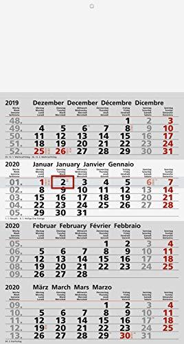 Viermonatskalender Quattro mit Schulferien und Notizen Marke ADINA (2020)