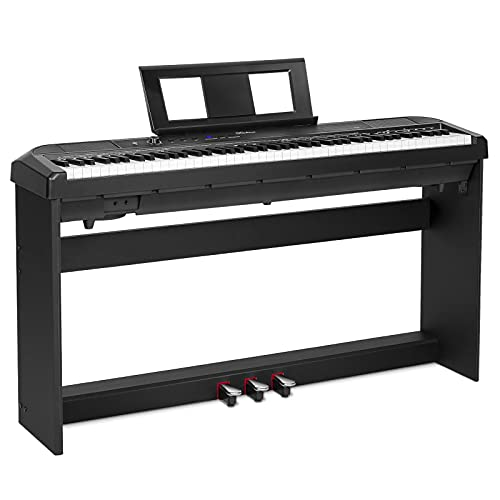 Duoliemi Digital Piano with Furniture Stand, 88 Key Full Size Weighted Keyboard, Portable Electric Keyboard Piano for Beginner/Adults, MIDI, Three-pedal, Power Supply